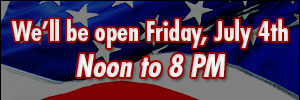 Open July 4th from Noon to 8PM