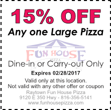 15% OFF any on large pizza, February 2017