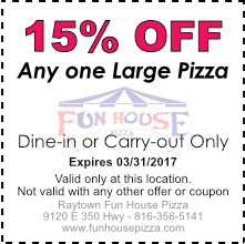 15% OFF any on large pizza, March 2017