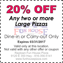 20% OFF any two large pizzas, March 2017