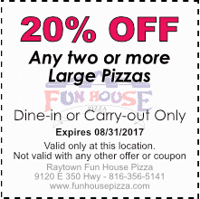 20% OFF any two large pizzas, August 2017