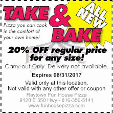 All new Take n' Bake pizzas are 20% off, August 2017